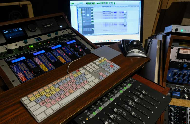 Audio mixing console with ProTools.